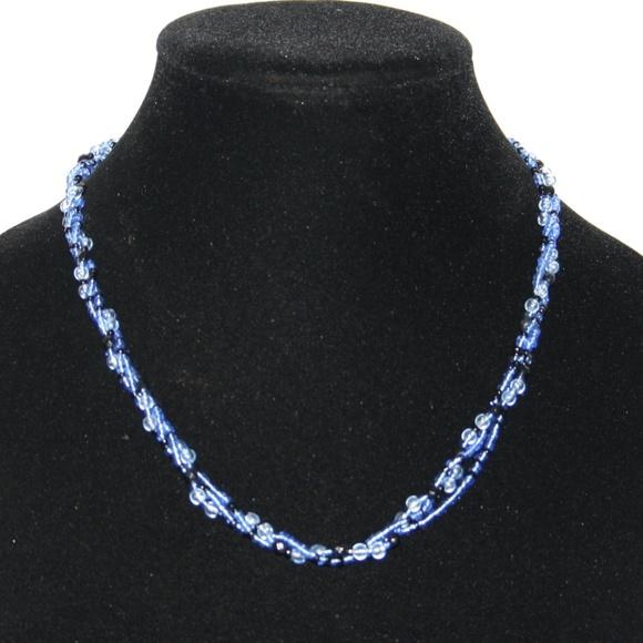 "Beautiful blue beaded necklace 20"""